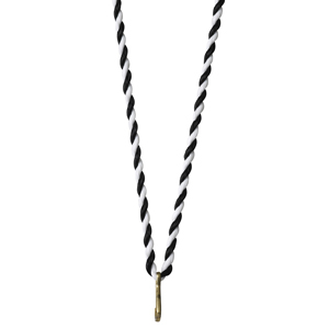 Medaljsnodd svart/vit 3 mm